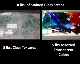Stained Glass Scraps 10 lbs of Clear Textures and Assorted Transparent Colors