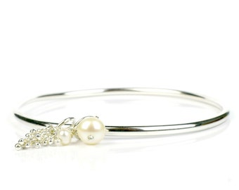 3mm round sterling silver charm bangle, 8mm and 4mm pearl drop, highly polished round bangle, three sizes available, Shimmer Collection