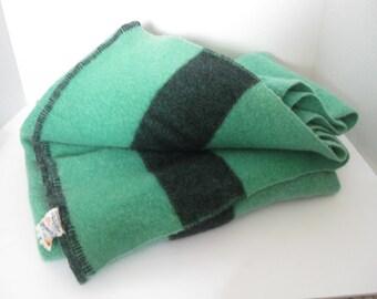 Warmbilt All Virgin Wool Blanket Green With Wide Black Stripes