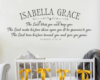 The Lord bless you and keep you Nursery Wall Decal PERSONALIZED - Baby Name Monogram - Nursery Wall Decor - Bible Verse Decal - Numbers 6:24