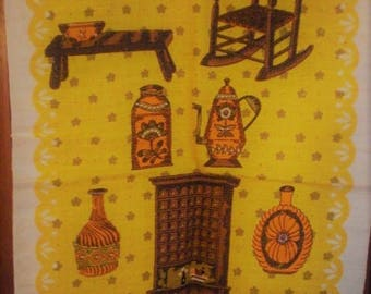 Retro Kitchen hand towel or wall hanging 1970