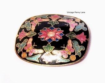 Cloisonne Enamel Pin, Vintage Flower / Butterfly Brooch