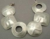 Modernist Sterling Silver Bracelet Geometric Links Signed