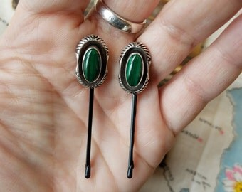 Vintage Sterling Silver and Malachite Hairpin (Hair Pin) Set