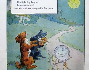 Vintage Child's Nursery Rhyme Print, Hey Diddle Didle, Cat and the Fiddle, Original 1920's Print, Mother Goose Rhyme, Nursery Decor