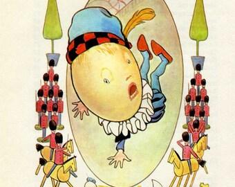 Vintage Child's Nursery Rhyme Print, Humpty Dumpty, 1980 Bookplate Print, Mother Goose Print, Margaret Tarrant