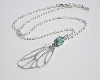 Angel wing necklace Faceted matte glass bead Silver finish chain Delicate necklace with slender spring clasp Sea foam color