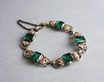 1920s Bracelet / Vintage 1920s Sterling Emerald Glass Art Deco Bracelet / 1920s Gold Filled Silver Link Bracelet