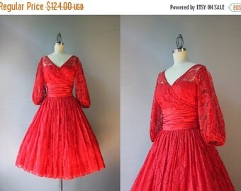 STOREWIDE SALE 1950s Party Dress / Vintage 50s Claudia Young Dress / 50s Red Lace and Satin Sweetheart Illusion Dress