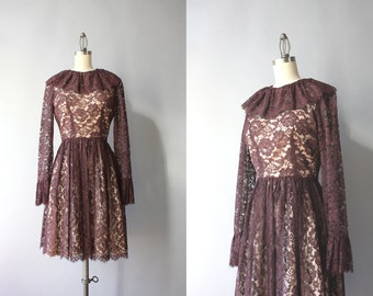 Vintage 60s Dress / 1960s Illusion Lace Dress / Sixties Sheer Lace Scalloped Dress XS