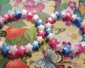 Two pink white and blue star bead bracelets kawaii kandi rave