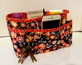 "Purse Organizer Insert/Enclosed Bottom  4"" Depth/ Navy and Coral Floral"