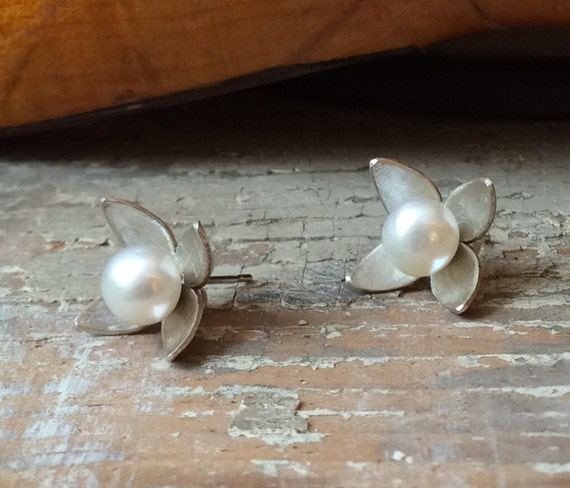 Sterling Silver Dogwood Earring Jackets with Freshwater Pearl Studs