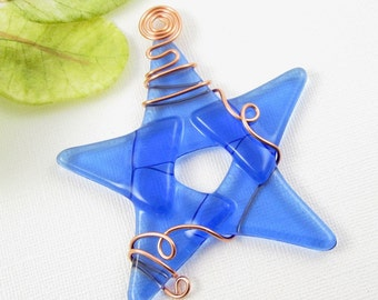 Light Blue Glass Star Suncatcher - Handmade Fused Glass Star Ornament - Light Blue Star Christmas Ornament - Star Suncatcher