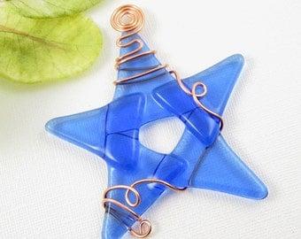 Light Blue Glass Star Suncatcher - Handmade Fused Glass Star Ornament - Light Blue Star Christmas Ornament - Star Suncatcher