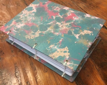 Colorful journal, handmade paper journal, sketch book, travel journal, guest book, recycled guestbook, recycled diary, teal, hand bound