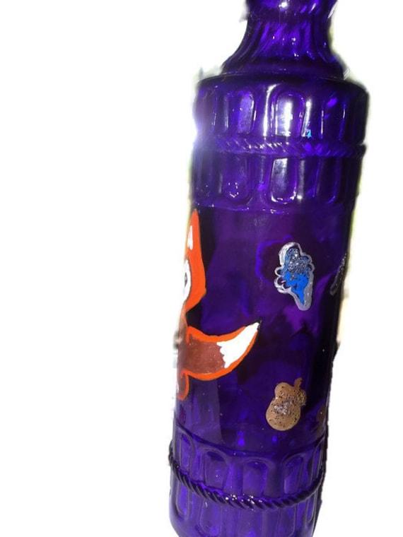 clearance sale woodland fox painted purple wine bottle