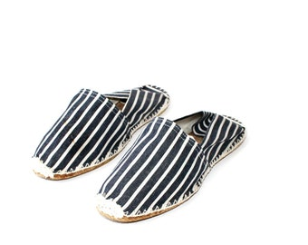SALE - 1990's Le Rope Espadrilles Chambray Striped Flats
