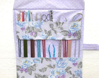 Floral Holder For Knitting Needles, Pocketed Case for Crochet Hooks and Double Pointed Needles DPN, Storage for Straight or Circular Needles