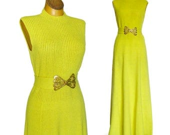 Early 1970's St John Knits Floor Length Dress / Lemon Yellow Maxi Dress with Butterfly Belt Buckle / STUNNING