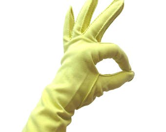 Vintage Evening Gloves in Buttercup Yellow or Pale Yellow / Easter Gloves / Stretch Sueded Cotton / Size 7