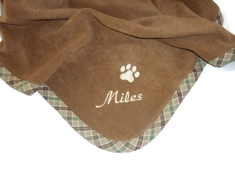 Pet Blanket.Personalized Pet Blanket. Dog Blanket. Cat Blanket. Fleece Pet Blanket. Brown Plaid Pet Blanket