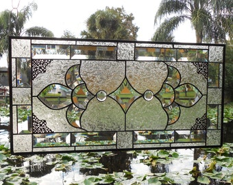Traditional Stained Glass Window Panel w/ Beveled Stained Glass, Suncatcher Valance, Unique Handmade Stained Glass Transom Window Treatment
