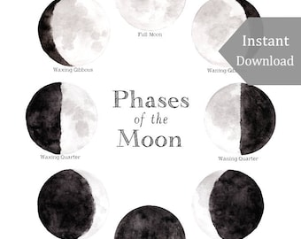 Home School Printable - Educational Art - 8x10 - Phases of the Moon Print - Lunar, Digital Print, Montessori, Astronomy, La Luna