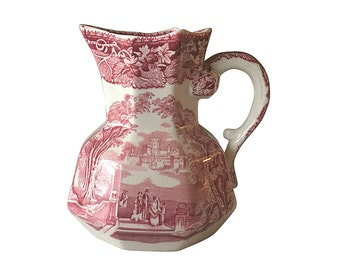 Cranberry Pink Milk Pitcher | Masons Ironstone | English Pottery | Vintage Home Decor | Country Farmhouse Style