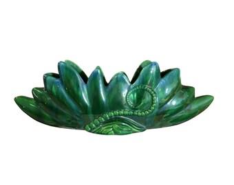 Ocean Themed Pottery Centerpiece | Curly Tentacle | Deep Green | Royal Haeger | Vintage Ceramic Vase