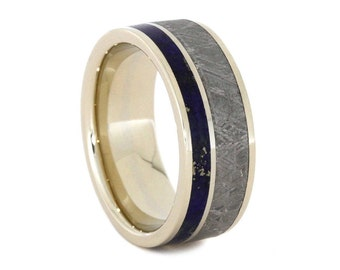 Meteorite Ring With Lapis Lazuli, 14k White Gold Wedding Band, Custom Lapis Lazuli Ring