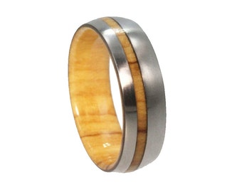 Olive Wood Ring, Wood Wedding Band For Him or Her, Titanium Ring, Wooden Jewelry Gift