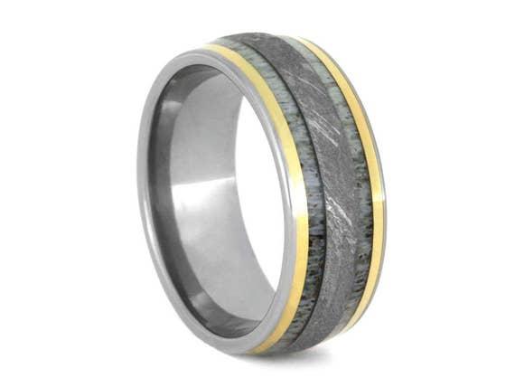 Deer Antler Ring With Meteorite and 18K Yellow Gold Inlays, Titanium Wedding Band