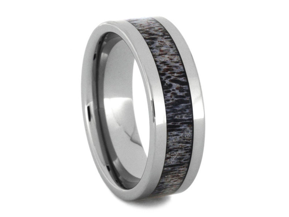 Tungsten Ring With A Deer Antler Inlay Mens Wedding Band