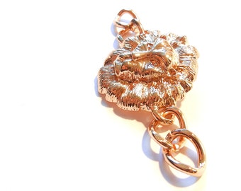 Lion Head Horizontal Double Link Gold-tone Pendant with Chain