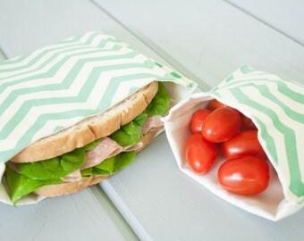 PLASTIC-FREE Sea Green Chevron Sandwich and Snack Bags, Reusable, Organic Cotton, Eco Friendly - Set of 2