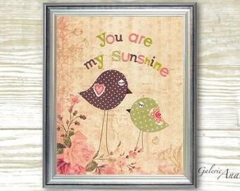 Nursery art prints - baby nursery decor - nursery wall art - children wall art - kids bird - pink green - You Are My Sunshine print