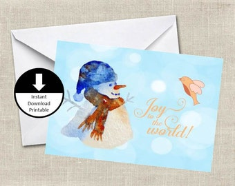 Printable Christmas Card Water Color Snowman Joy To The World Holiday PDF and Jpeg Printable Digital Instant Download