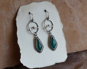 Sterling Silver Primitive Symbol Hoops with Green Onyx Dangle Earrings . Rustic Boho Tribal Southwest Style Jewelry