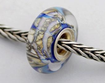 Unique Silvered Uniques Blue Bead  - Artisan Charm Bracelet Bead (JUN-44)
