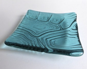 Light Aqua Fused Glass Turtle Shell Imprint Square Plate by BPRDesigns