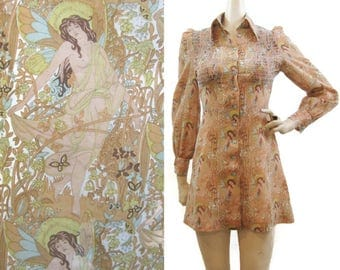 Vintage 60s 70s Dress Psychedelic Nude Fairies Print Mini Big Collar Louis Caring XS