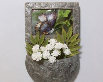 Miniature pocket planter magnet with butterfly image and flowers: refrigerator or office magnet decorative pot