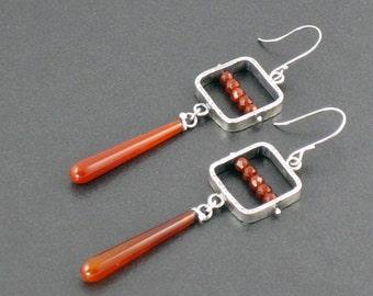 Carnelian Pinned Earrings, red silver, sterling silver, dangle earrings, carnelian earrings, pinned earrings, silver earrings, michele grady