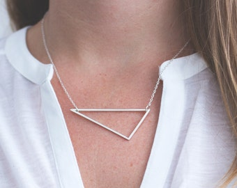 Linear Triangle Necklace || Handmade, sterling silver, geometric, gift, chain, pendant, angles, triangle, handcrafted