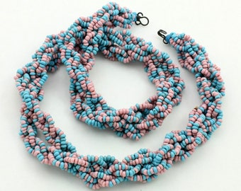 Vintage Twisted Bead Necklace, Multi Strand, Blue and Pink, Glass Seed Beads, Two Tone Necklace