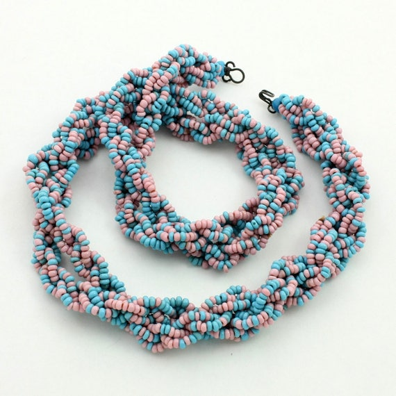 Vintage Blue and Pink Braided Bead Necklace
