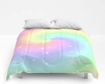 Comforter, Rainbow Swirl and Stars, Made to Order, Eye Candy, Decorative, Bedding, Unique Design, Modern, Happy Duvet,Bedroom, Blanket