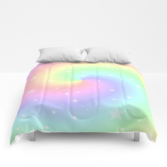 Comforter, Rainbow Swirl and Stars, Made to Order, Eye Candy, Decorative, Bedding, Unique Design, Modern, Happy Duvet,Bedroom, Blanket, Dorm