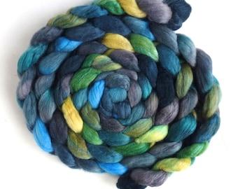Polwarth/Silk Roving - Handpainted Spinning or Felting Fiber, Overcast Again